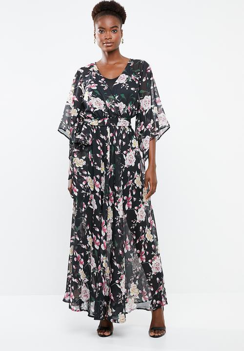 a25532b386 Kimono sleeve lined maxi dress - black G Couture Casual ...