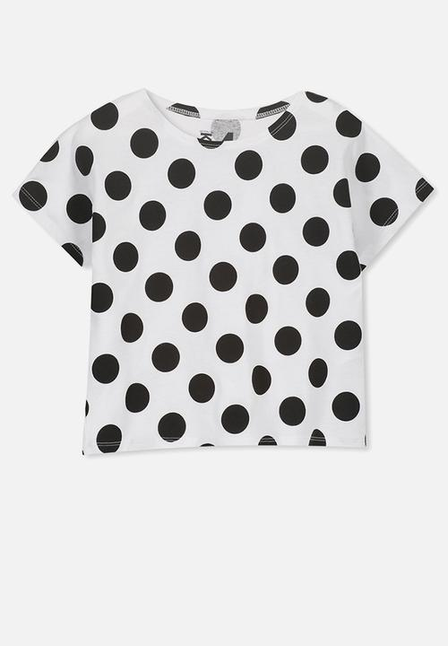 14af3a49 Penelope short sleeve tee - white black spot Cotton On Tops ...