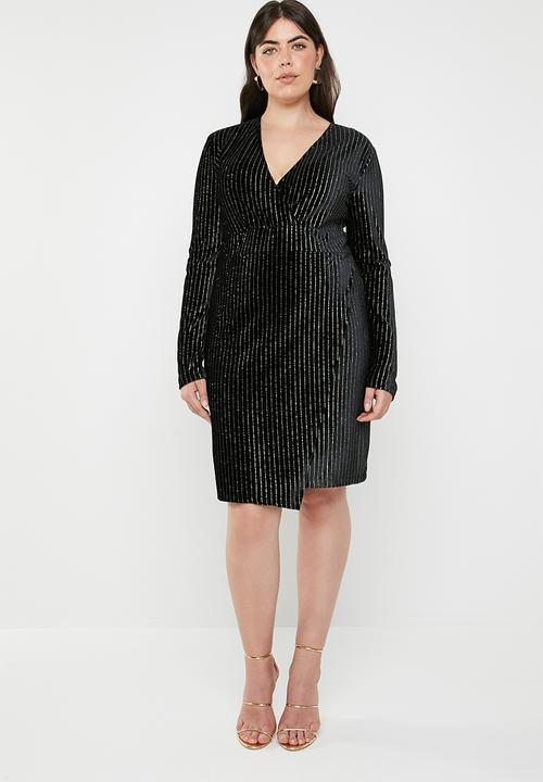 e364a696676 Curve velvet glitter stripe wrap dress - black   gold Missguided ...