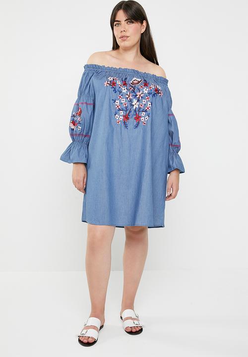 a1b4c884b172 Paper-bag bardot dress - blue STYLE REPUBLIC PLUS Dresses ...