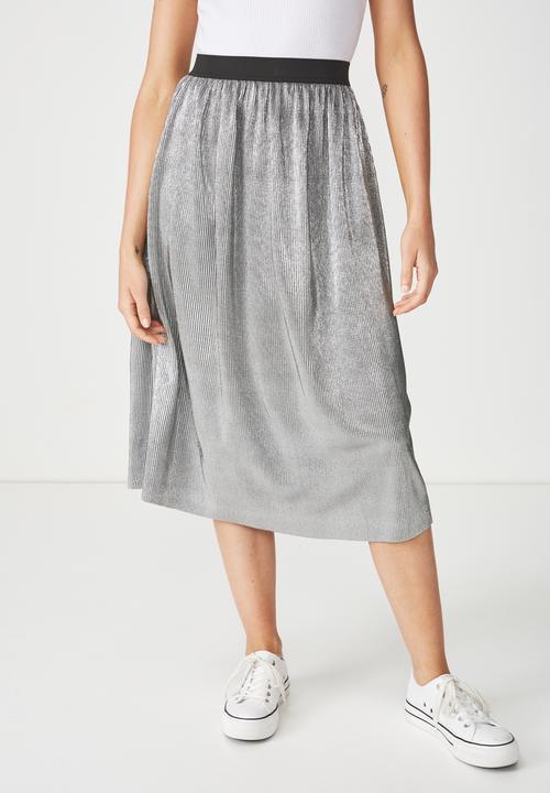 907357f4b845 Woven Daria pleated skirt - silver metallic Cotton On Skirts ...