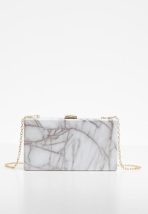 Marbled Clutch Bag White Grey