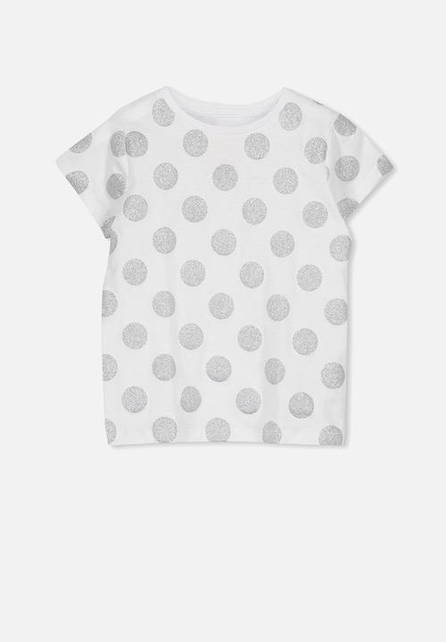 af6c7951 Penelope short sleeve tee - white glitter spot Cotton On Tops ...