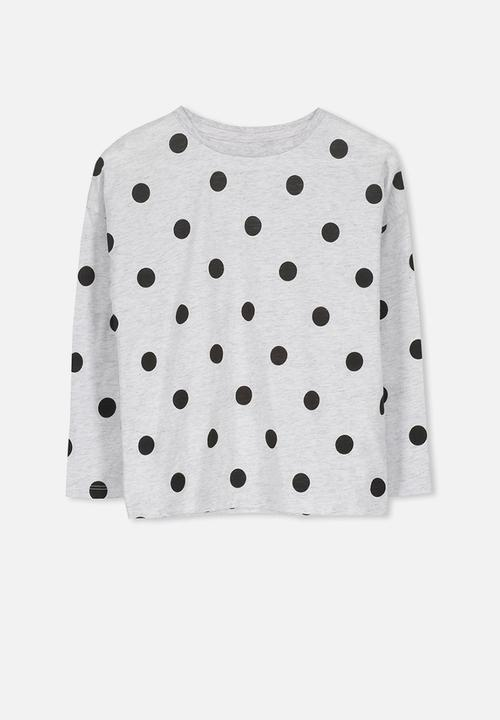 98ae4c7c Penelope long sleeve tee - summer grey marle spot Cotton On Tops ...