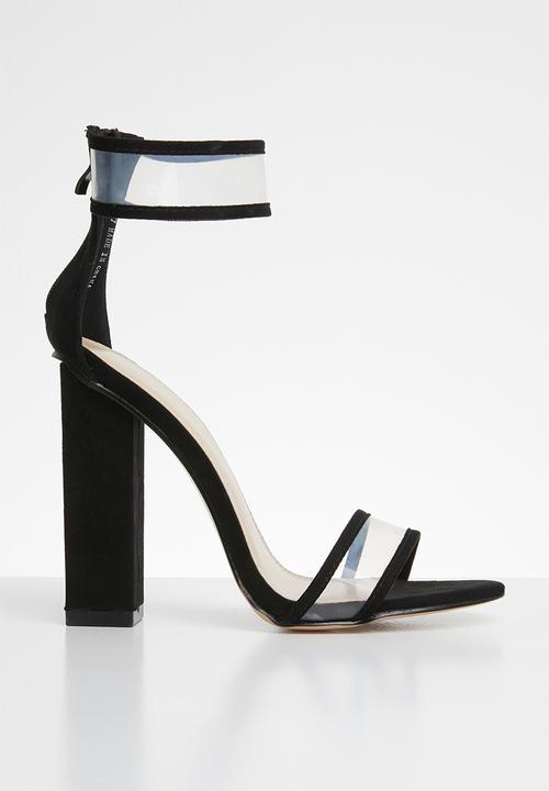 8f0e6cac267 Brink perspex straps block heel - black Public Desire Heels ...