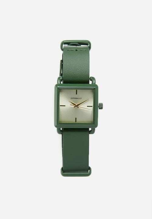 Square Face Leather Watch Green Superbalist Watches Superbalist Com