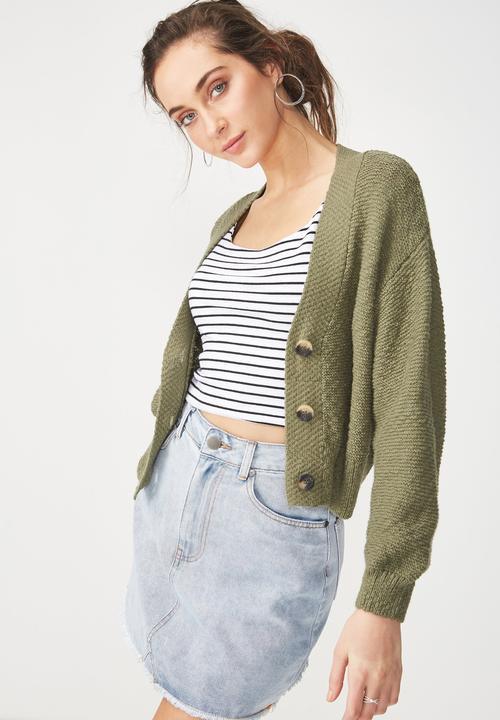 6d872f8b4d2c Cropped button up cardigan - khaki Cotton On Knitwear | Superbalist.com