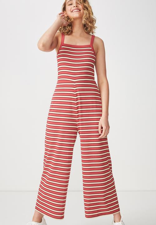 4d6f50583e3 Valerie strappy wide leg jumpsuit - red stripe Cotton On Jumpsuits ...