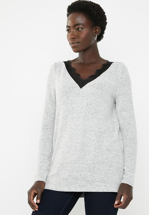 7dc8eb6da90 Gigi lace sweater - pale grey Vero Moda Knitwear