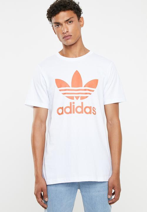 2f1496849c516c Mens original trefoil tee - white   orange adidas Originals T-Shirts ...