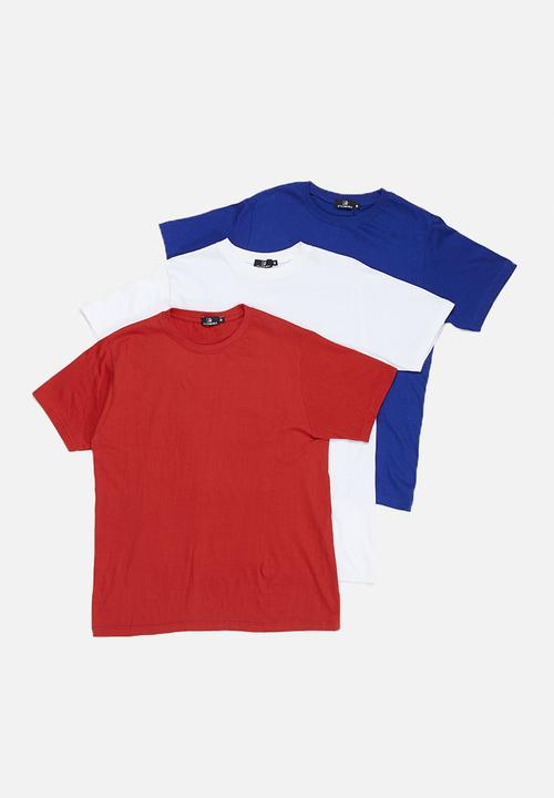 04789f15 3 Pack crew neck T-shirt - white, navy & red STYLE REPUBLIC T-Shirts ...