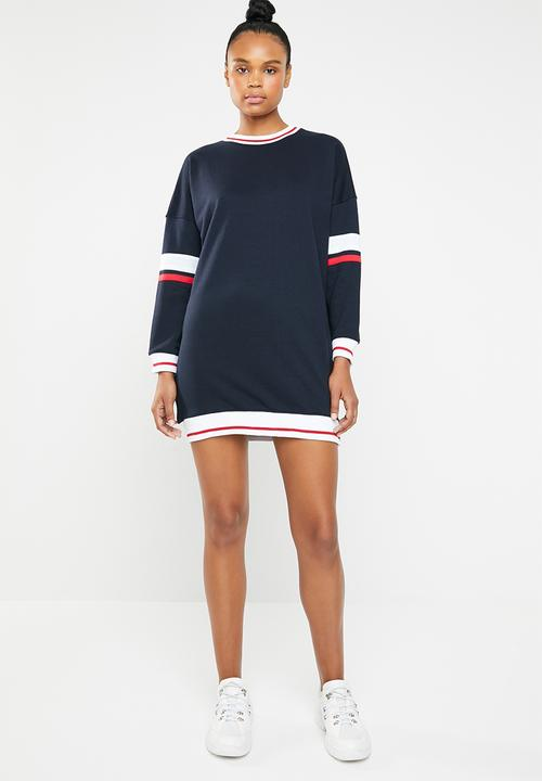 5353835ebfb Long sleeve drop shoulder sweater dress - navy red   white ...