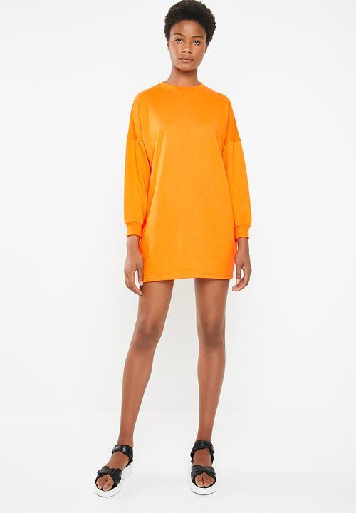 eb59071b36c Oversized long sleeve sweater dress - orange Missguided Casual ...
