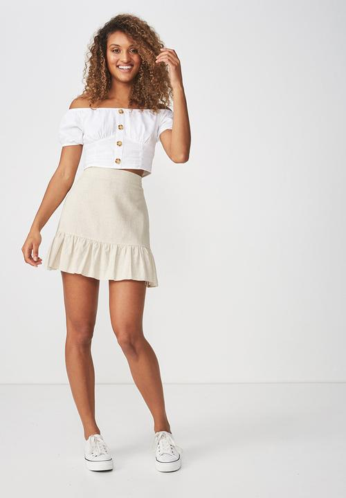 Woven Jordana Mini Skirt Latte Marle Cotton On Skirts