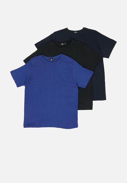 21602455 3-Pack crew neck T-shirts - blue/black & navy STYLE REPUBLIC T ...