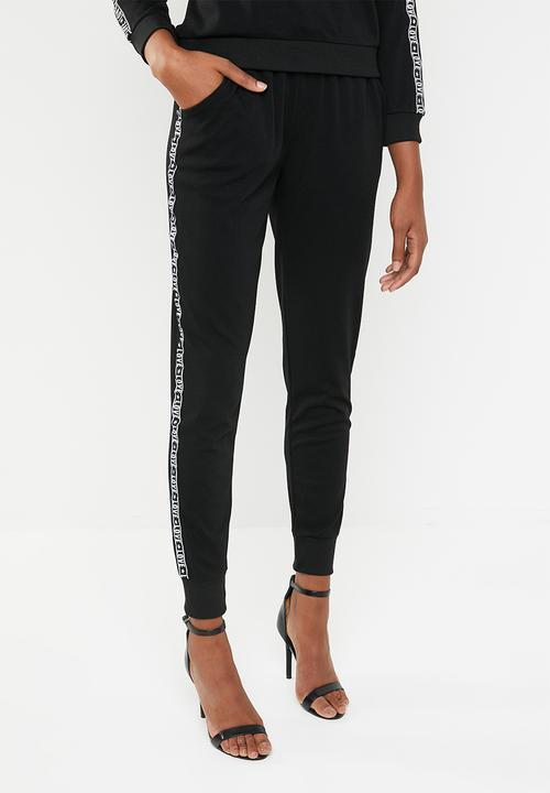 c90ca4e6aa4 side tape joggers - black Brave Soul Trousers