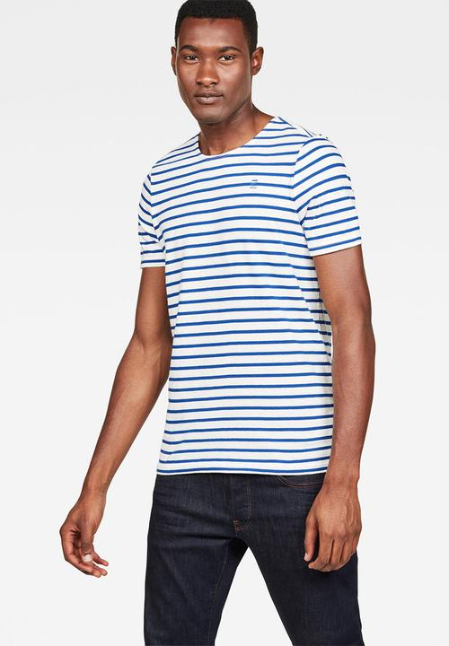 7fd521e2 Xartto r t short sleeve slim fit tee - milk/hudson blue stripe G ...