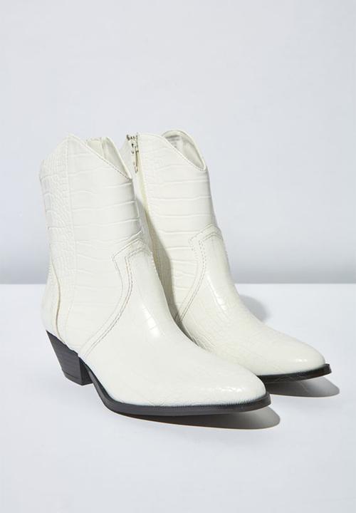 1ed46b2842 Larissa faux leather block heel western boot - white croc emboss pu ...