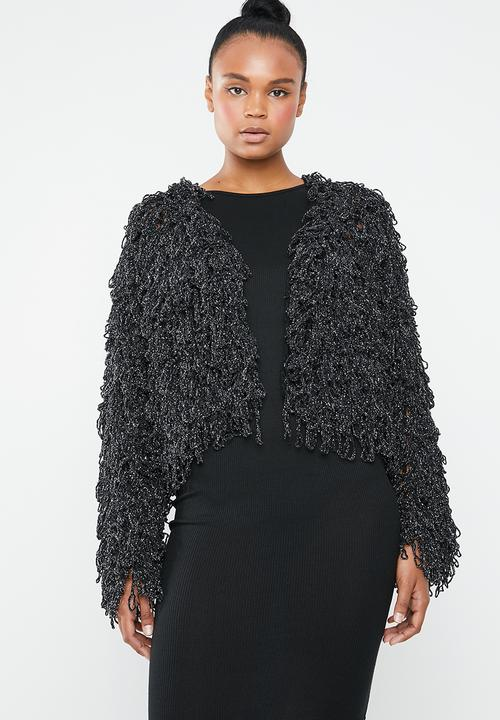 b69d1c700 Metallic loopy shaggy knitted cardigan - black   silver Missguided ...