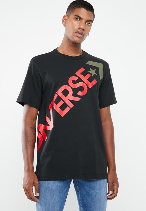 56c8499d3 Cross body short sleeve tee - black Converse T-Shirts & Vests ...
