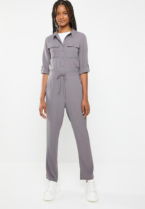 19481cf6392c Tie waist jumpsuit - grey Brave Soul Jumpsuits   Playsuits ...