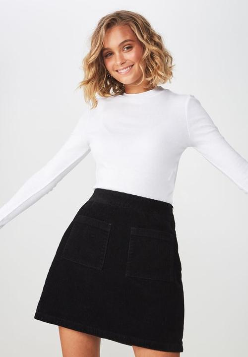98f10262171f A line pocket front cord mini skirt - black Cotton On Skirts ...