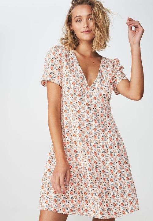 6ca4dabfd7d0 Woven dotti deep v puff sleeve mini dress - floral cream Cotton On ...