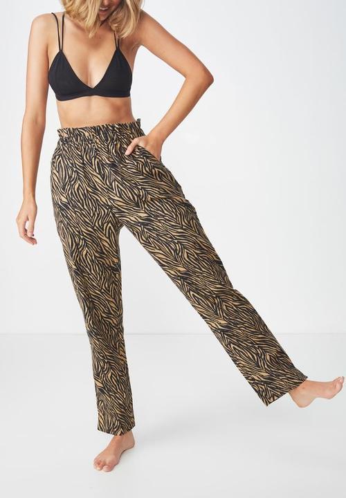 2c6849c9f3 Cotton On - Flannel paper bag zebra print pant - tan & black