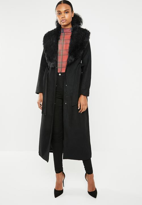 Maxi wool-like coat with detachable collar - black