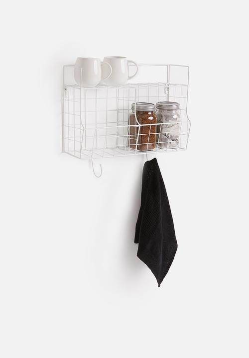 Present Time - Kitchen wall rack - metal with basket white