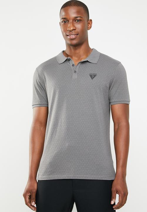 3f3a455a Geometric short sleeve polo - charcoal GUESS T-Shirts & Vests ...