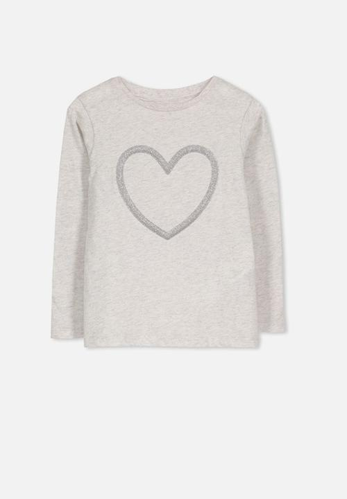 87a42026 Anna long sleeve tee - summer grey marle silver heart Cotton On Tops ...