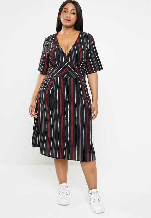 6791f74d058 Plus size stripe empire line midi dress - navy Brave Soul Dresses ...