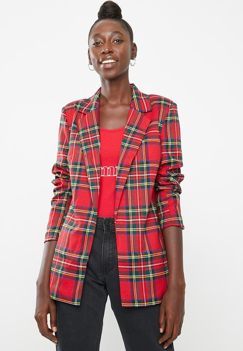 53267008f386 Checked oversized blazer - red Missguided Jackets   Superbalist.com