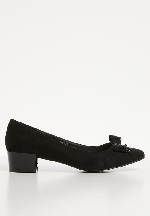 05df8aa4123 Patricia front bow block heel pump - black Butterfly Feet Heels ...