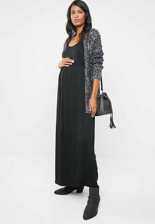 9130b375c6 Maternity maxi dress - black edit Maternity Dresses   Jumpsuits ...