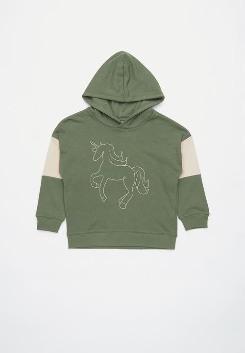 56ce252b4 Scarlett hoodie - four leaf clover unicorn panels Cotton On Jackets ...