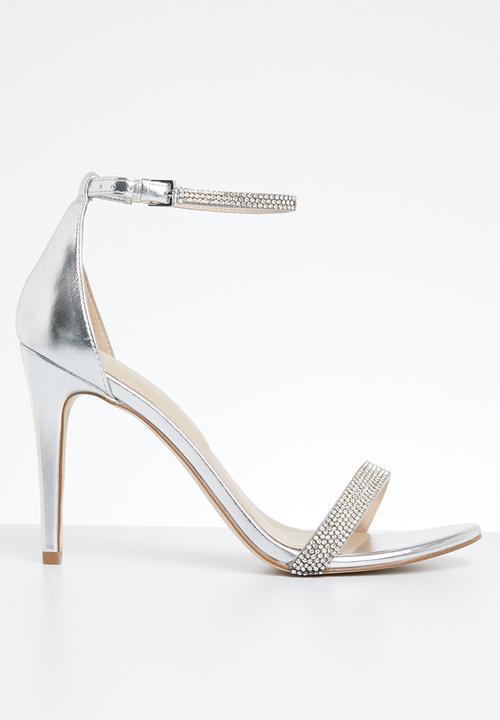 34e1d842d1e3 Aroclya rhinestone embellished ankle strap stiletto heel - silver ...