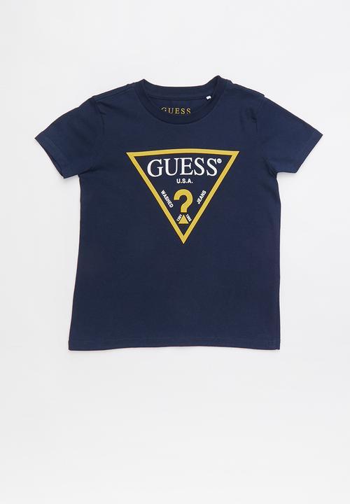 0d420895b85d Short sleeve core triangle tee - navy & yellow GUESS Tops ...