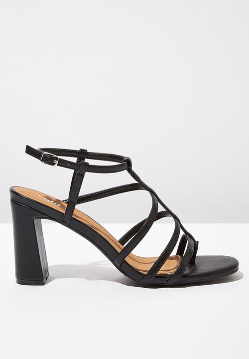 24c73651b Farrah faux leather strappy toe post block heel - black smooth ...
