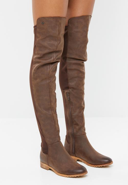 568972fb1ac6e Krabi over the knee flat boot - chocolate Miss Black Boots ...