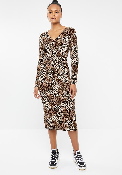b62290fd2d3 V-neck tie front knit dress - brown animal print Superbalist Casual ...