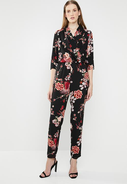 d0faa2c589ae Nova lux printed wrap 3 4 sleeve jumpsuit - peachy flora ONLY ...