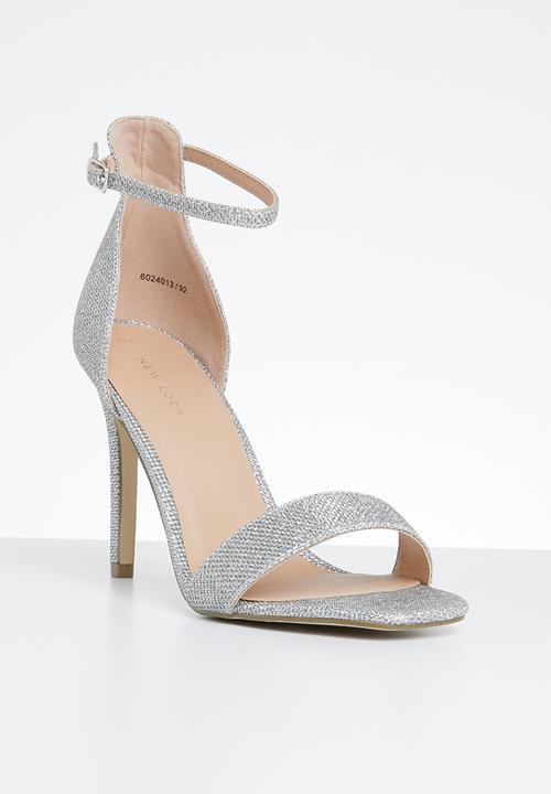 2c3ce93cc16 Glitter ankle strap stiletto heel - silver New Look Heels ...
