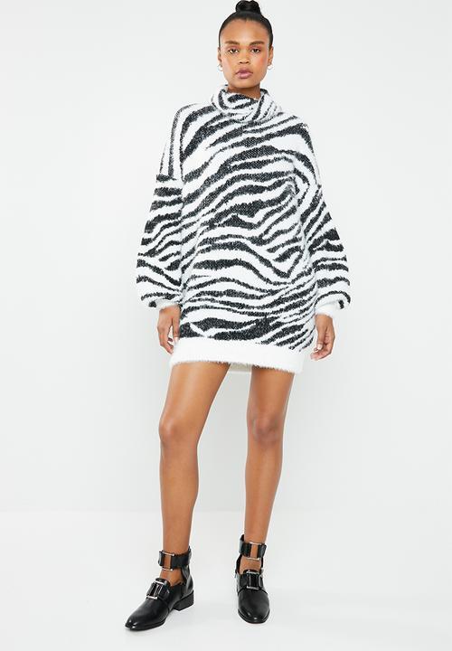 2d0e319fe51 Premium roll neck zebra jumper dress - white   black Missguided ...