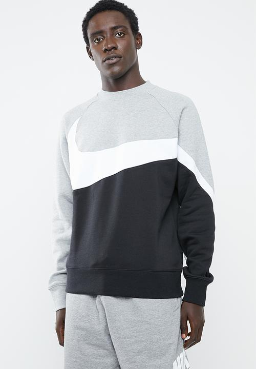 c164afdeb63e52 NSW HBR crew neck stmt sweater - dk grey heather white black Nike ...