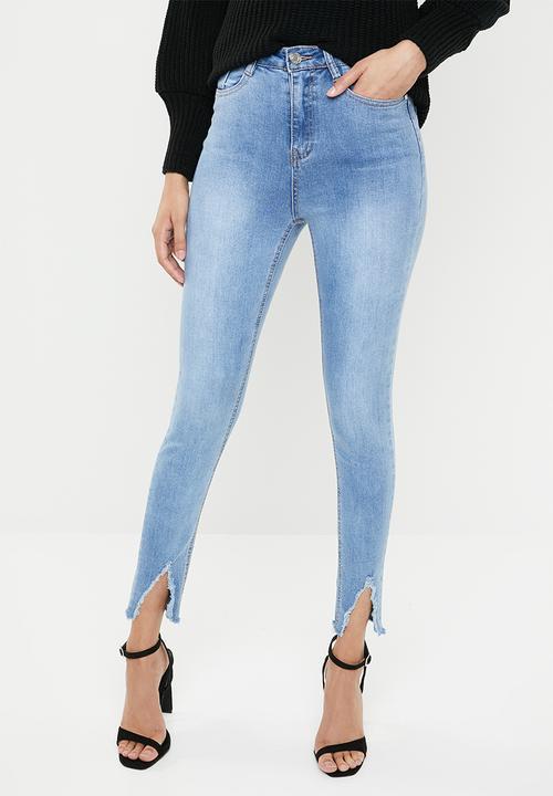 2519148d7e0 Sinner nibble hem distressed skinny - stonewash Missguided Jeans ...