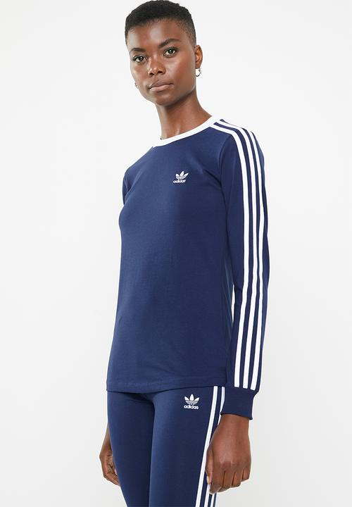 5994994963 3 Stripes long sleeve tee - dark blue adidas Originals T-Shirts ...
