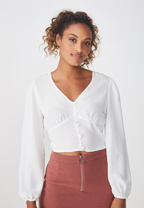 maddie-button-up-blouse---white by cotton-on