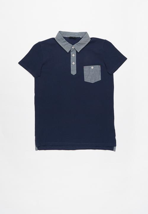 46b27b431 Short sleeve guess chambray polo - deck blue GUESS Tops ...